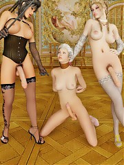 Noble trannies have their naughty ways with the dickgirl slave.