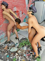 Lusty t-girl police officers fuck the criminal against the wall.